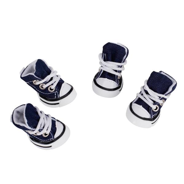 Pet Dog Shoes Boots Sneakers Denim Blue - Size 3