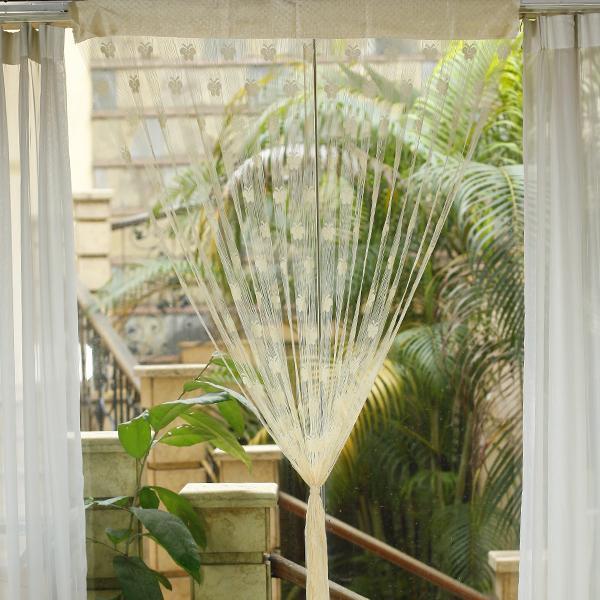 Butterfly Tassel String Door Curtain Window Room Divider - Cream