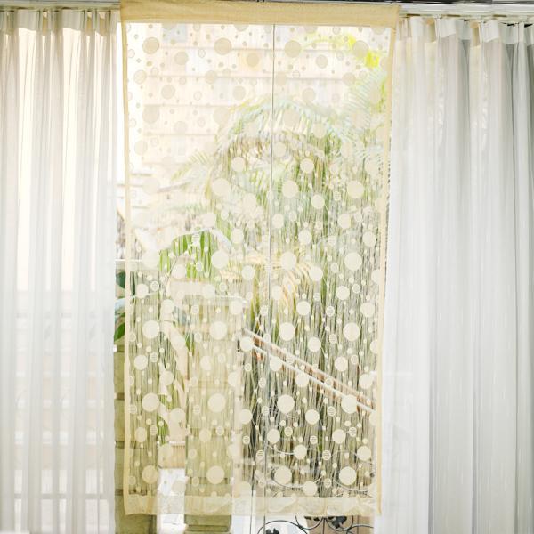 Circle Tassel String Door Curtain Window Room Divider - Beige