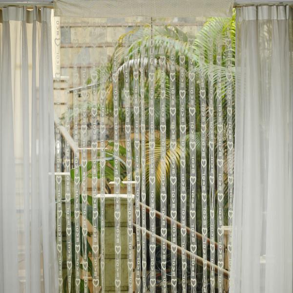 LOVE Heart Tassel String Door Curtain Window Room Divider - Beige