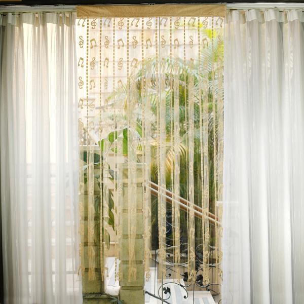Musical Note Tassel String Door Curtain Window Room Divider - Pale Golden