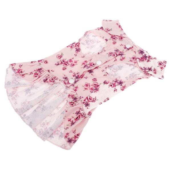Pet Dog Floral Dress Clothes Apparel Size M - Pink