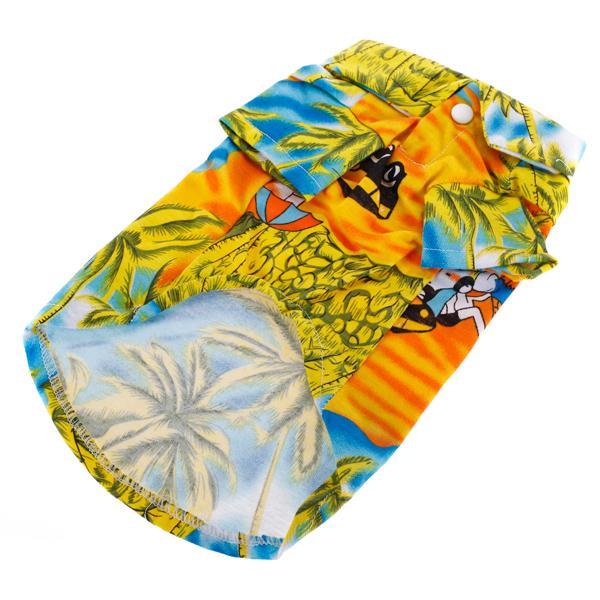 Hawaiian Print Dog Shirt Summer Camp Shirt Clothes Apparel - S