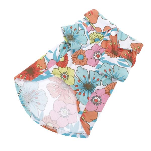 Hawaiian Floral Print Dog Shirt Summer Camp Shirt Clothes Apparel - S