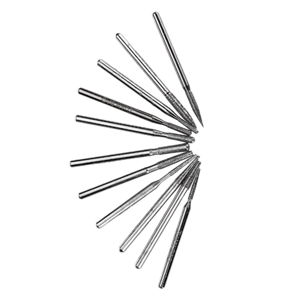 30pcs Diamond Coated Point Grinding Burrs Bit 3mm Shank