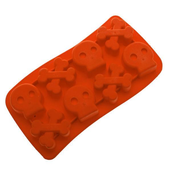 Skull Crossbone Ice Cube Mold Maker Tray - Red
