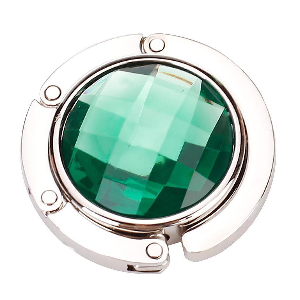Round Folding Purse Handbag Hanger Hook Holder - Emerald