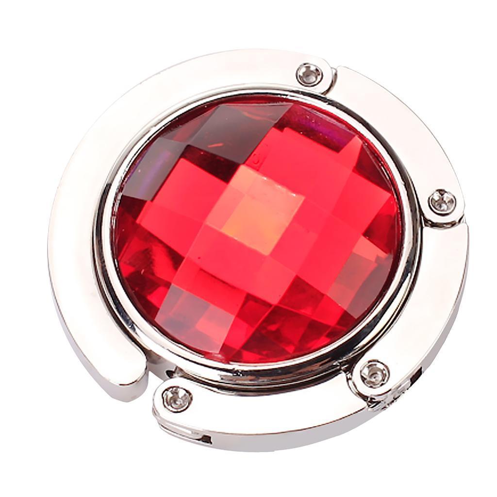 Round Folding Purse Handbag Hanger Hook Holder - Red