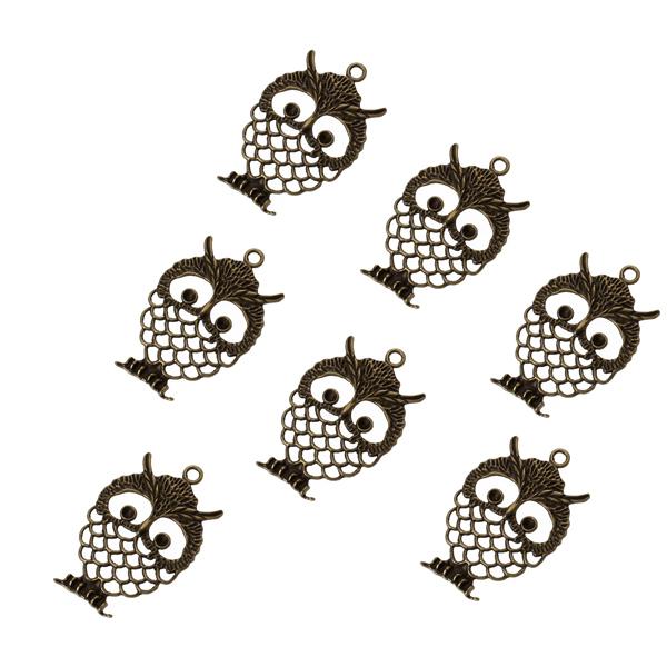 10pcs Bronze Tone Owl Charm Necklace Bracelet Pendant