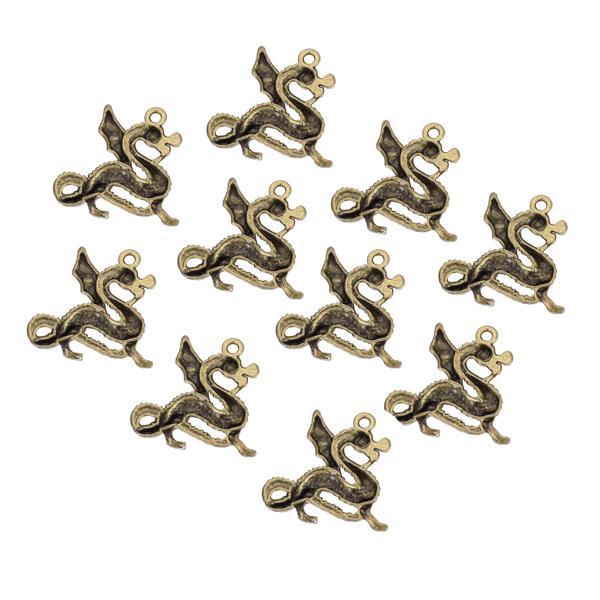 10pcs Bronze Tone Winged Dragon Charm Necklace Bracelet Pendant