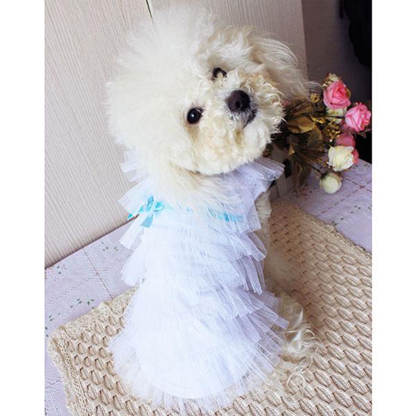 White Mesh Tiered Layered Pet Dog Dress Shirt Size S