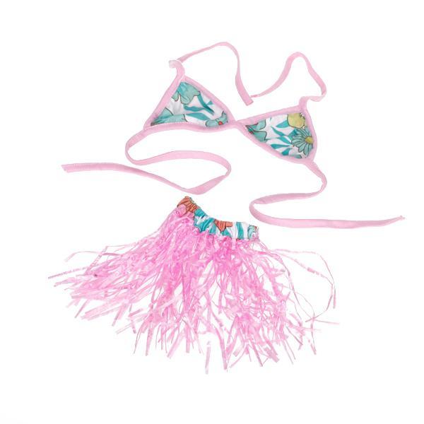 Hawaiian Pet Dog Costume Bikini Hula Skirt Size M