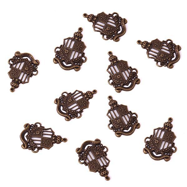 10pcs Bronze Tone Crown Medal Charm Necklace Bracelet Pendant