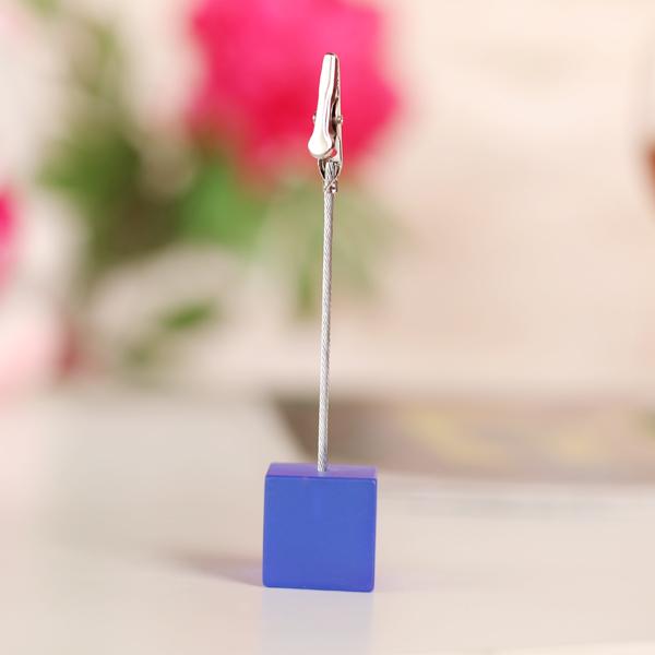 Cube Wire Memo Holder Paper Note Clip - Translucent Sapphire