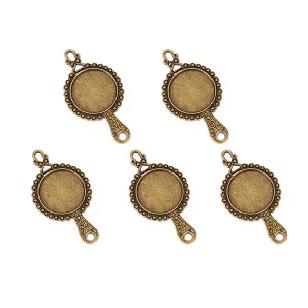 5pcs Bronze Tone Mirror Frame Charm Necklace Bracelet Pendant
