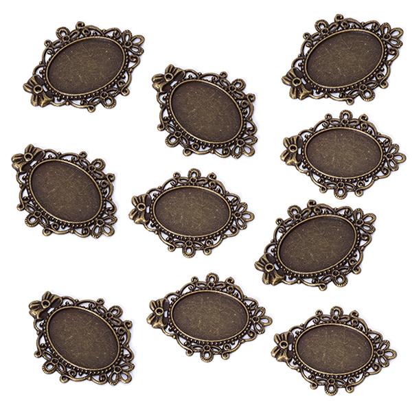 10pcs Bronze Tone Mirror Frame Charm Necklace Bracelet Pendant