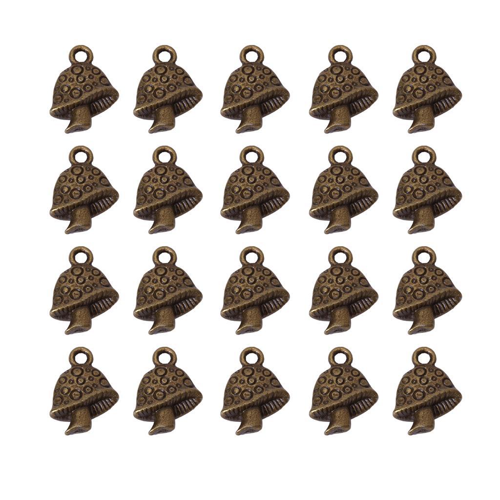 20pcs Bronze Tone Mushroom Charm Necklace Bracelet Pendant