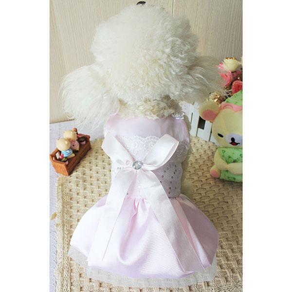 Satin Pet Dog Dress Clothes Size L - Pink