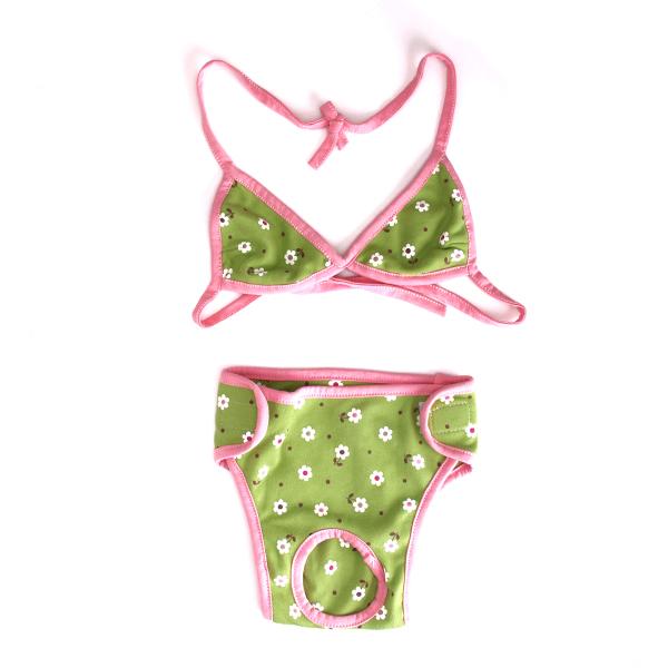 Flower Pet Dog Bikini Swimsuit Swim Wear Clothes Size M