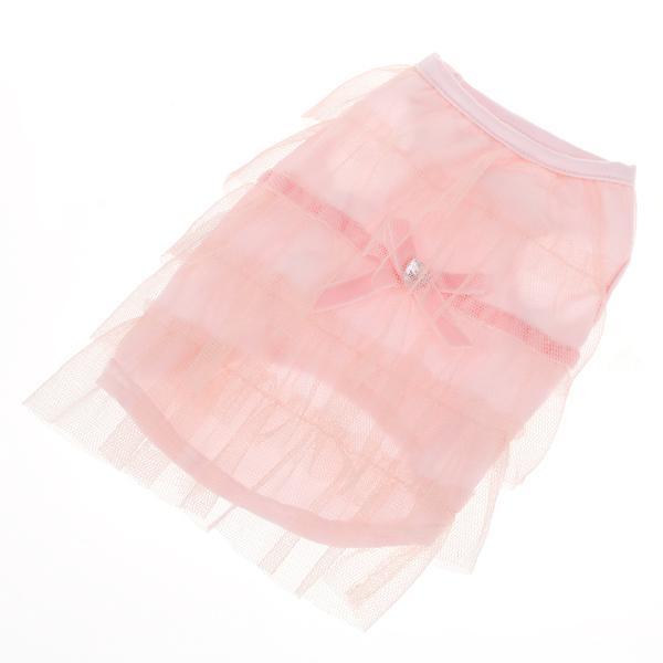 Pink Mesh Tiered Layered Pet Dog Dress Shirt Size S