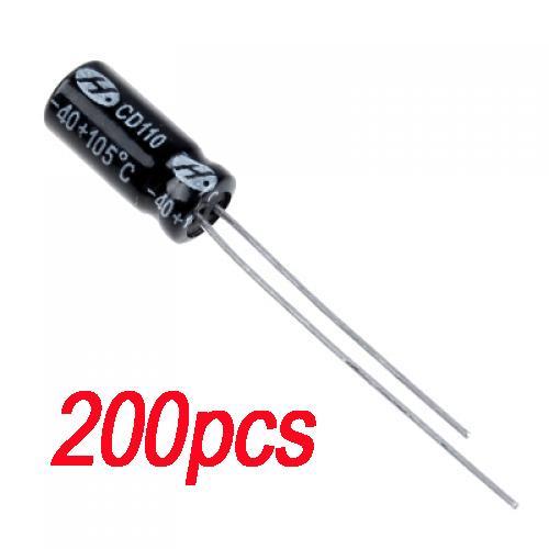 200pcs 10uF 50V Aluminum Electrolytic Capacitor Impedance Radial