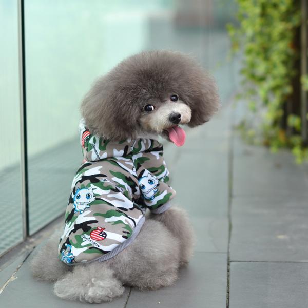 Camo Hooded Coat Jacket with Flocking Lining for Pet Dog - S