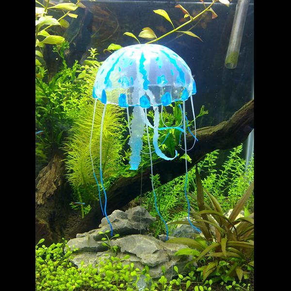 Large Glowing Effect Artificial Jellyfish for Aquarium Fish Tank Ornament - Blue