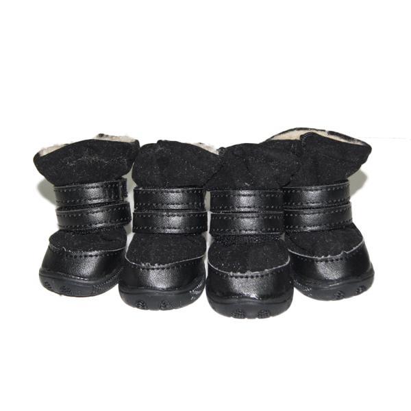 Black Fashionable Warm Fur Collar Strap Anti-skid Dog Boots Shoes 2#