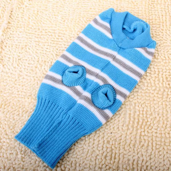 Light Blue Turtleneck Stripe Dog Sweater Clothes - Size L