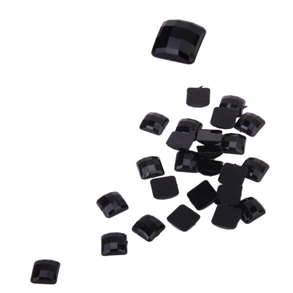 50pcs 12mm Black Square Flatback Acrylic Rhinestones Nail Art Phone Decoration