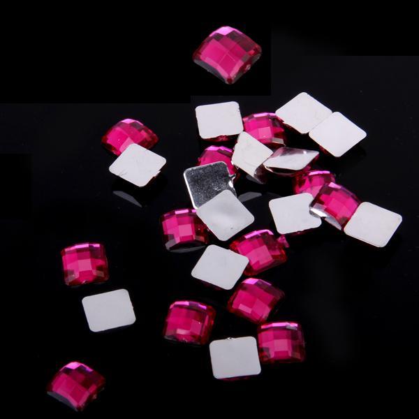50pcs 12mm Roseo Square Flatback Acrylic Rhinestones Nail Art Phone Decoration