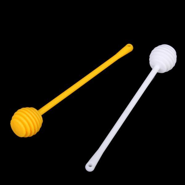 2Pcs Honey Dipper Jam Stir Sticks Long Handle Yellow + White
