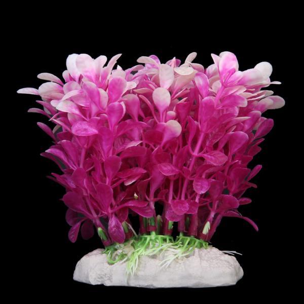 12cm Plastic Aquarium Plants Ornament for Fish Tank - Purple + White