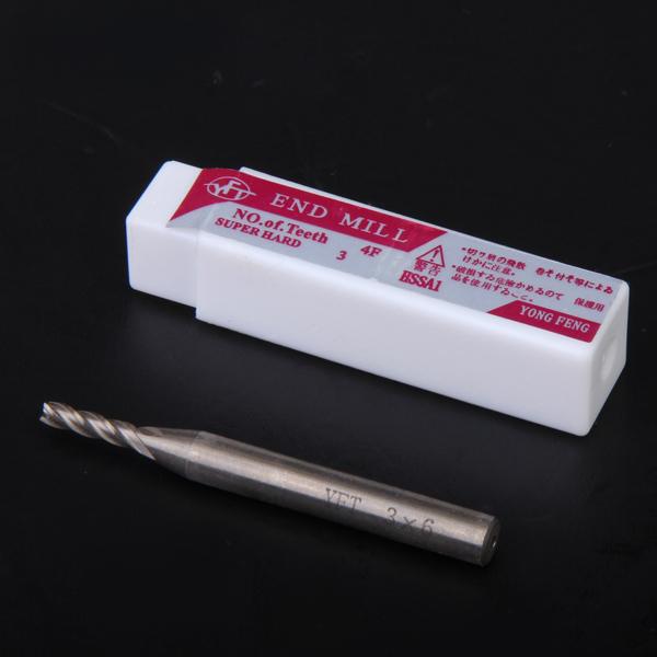 HSS 4-Flute 3mm x 6mm Shank End Milling Cutter
