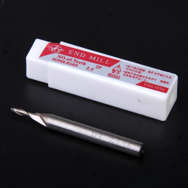 HSS 2-Flute 2.5mm x 6mm Shank End Milling Cutter