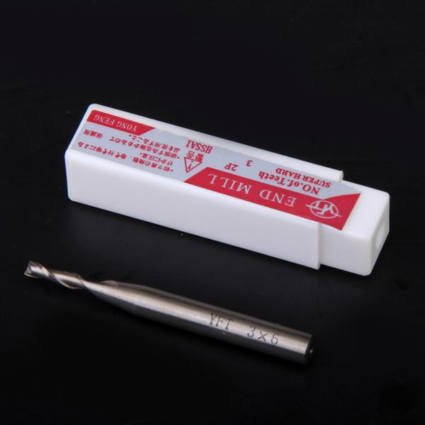 HSS 2-Flute 3mm x 6mm Shank End Milling Cutter
