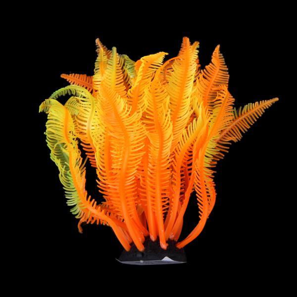 SH131S Artificial Fake Coral for Fish Tank Decor Orange + Yellow