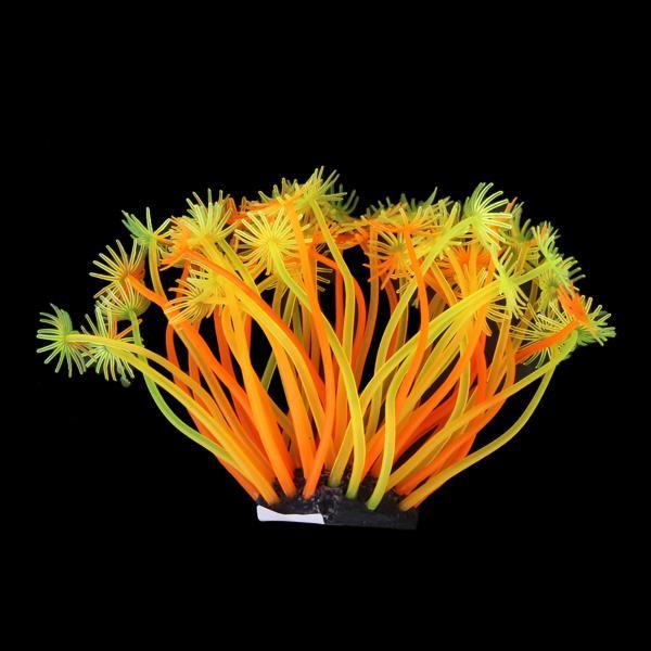 SH188 Artificial Fake Coral for Fish Tank Decor Orange + Yellow