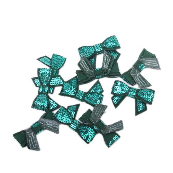 10Pcs Glitter Bow Sequins Appliques - Green