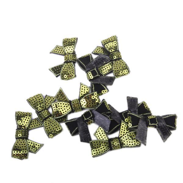 10Pcs Glitter Bow Sequins Appliques - Olive