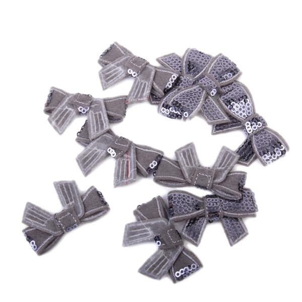 10Pcs Glitter Bow Sequins Appliques - Grey