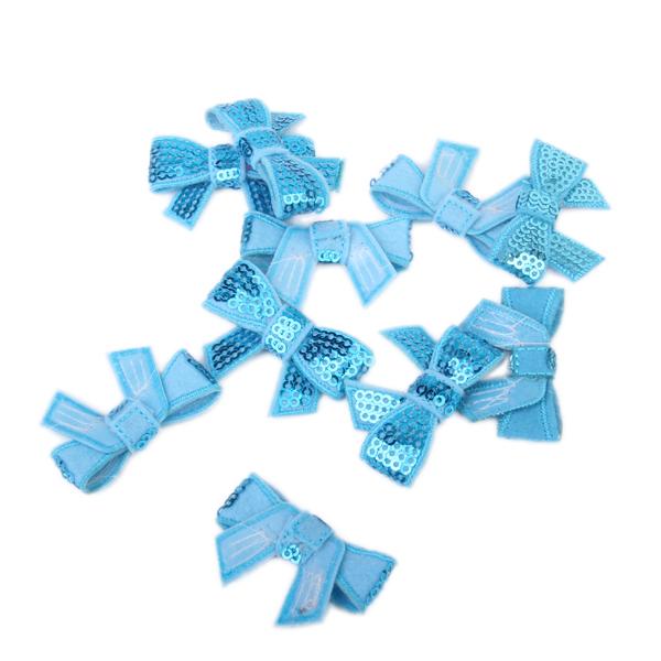 10Pcs Glitter Bow Sequins Appliques - Blue