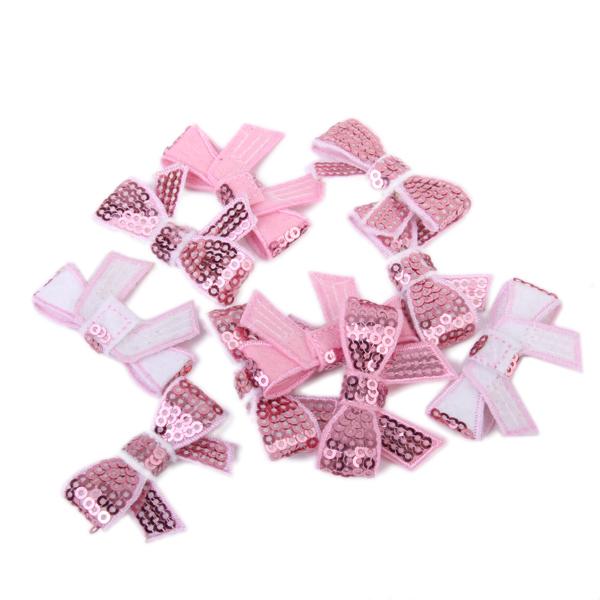 10Pcs Glitter Bow Sequins Appliques - Pink