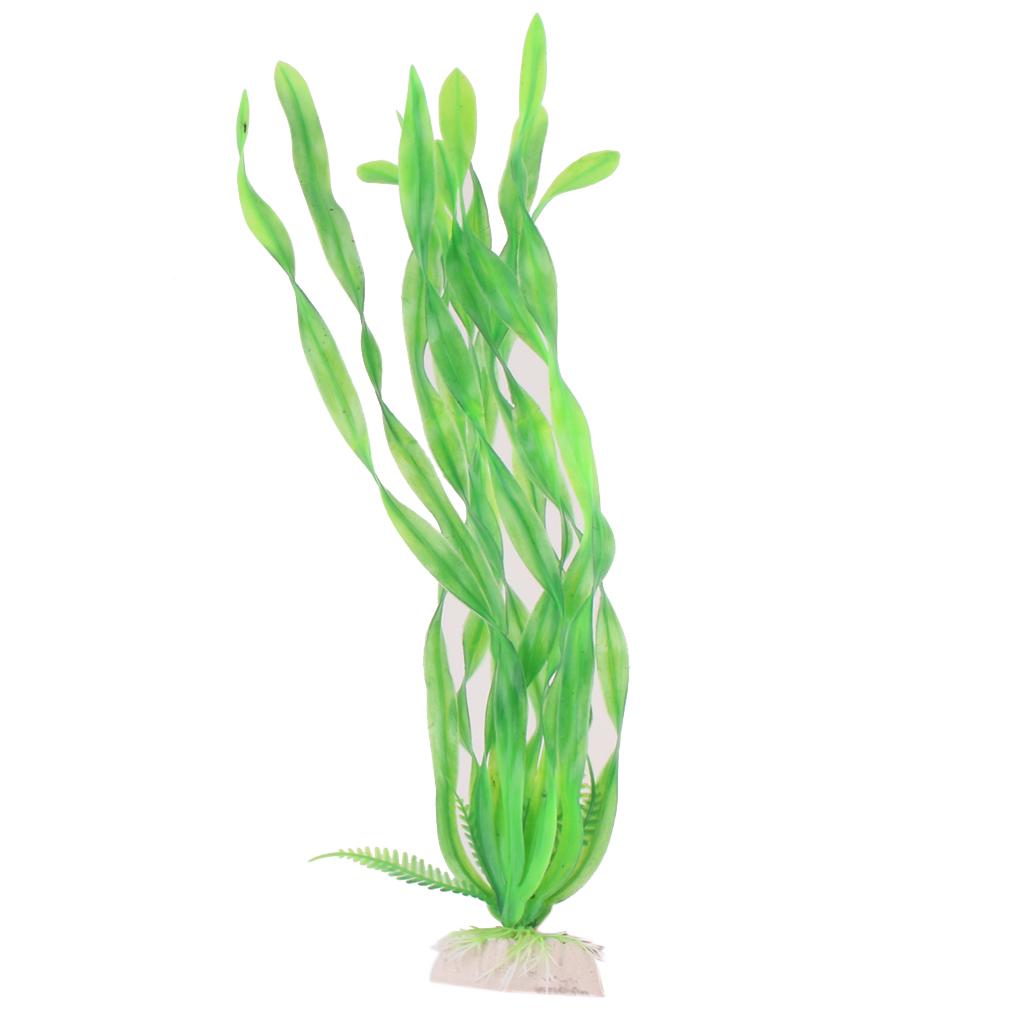 "14"" Plastic Aquarium Plants Ornament w/ Base for Fish Tank - Green"