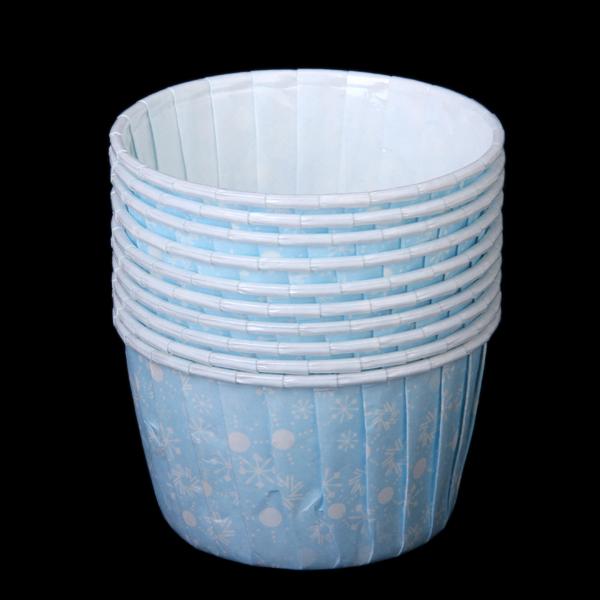 10Pcs Snowflake Pattern Round Cake Muffin Cupcake Mold - Blue