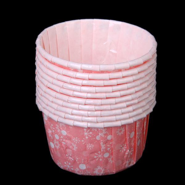 10Pcs Snowflake Pattern Round Cake Muffin Cupcake Mold - Pink