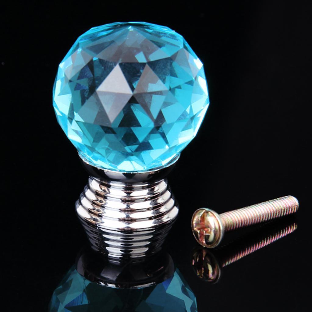 1Pcs Crystal Drawer Pull Knob Cabinet Door Handle Ocean Blue