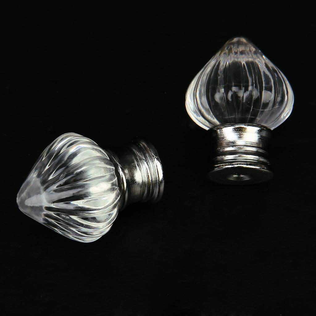 2 x Acrylic Drawer Cabinet Knob Pull Handle w/ Silvery Base