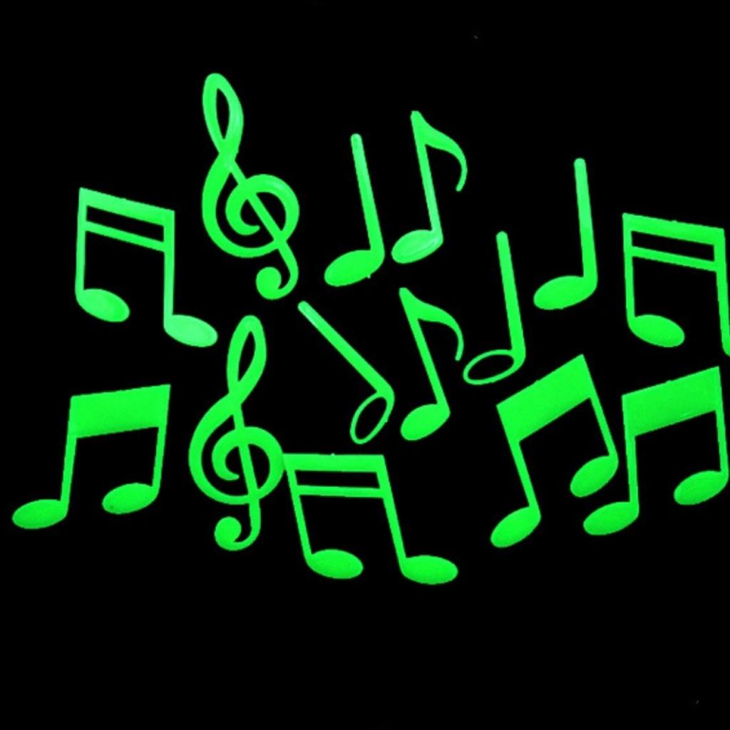 14pcs Glow In the Dark Musical Note Symbol Stickers Kid Wall Bedroom Nursery