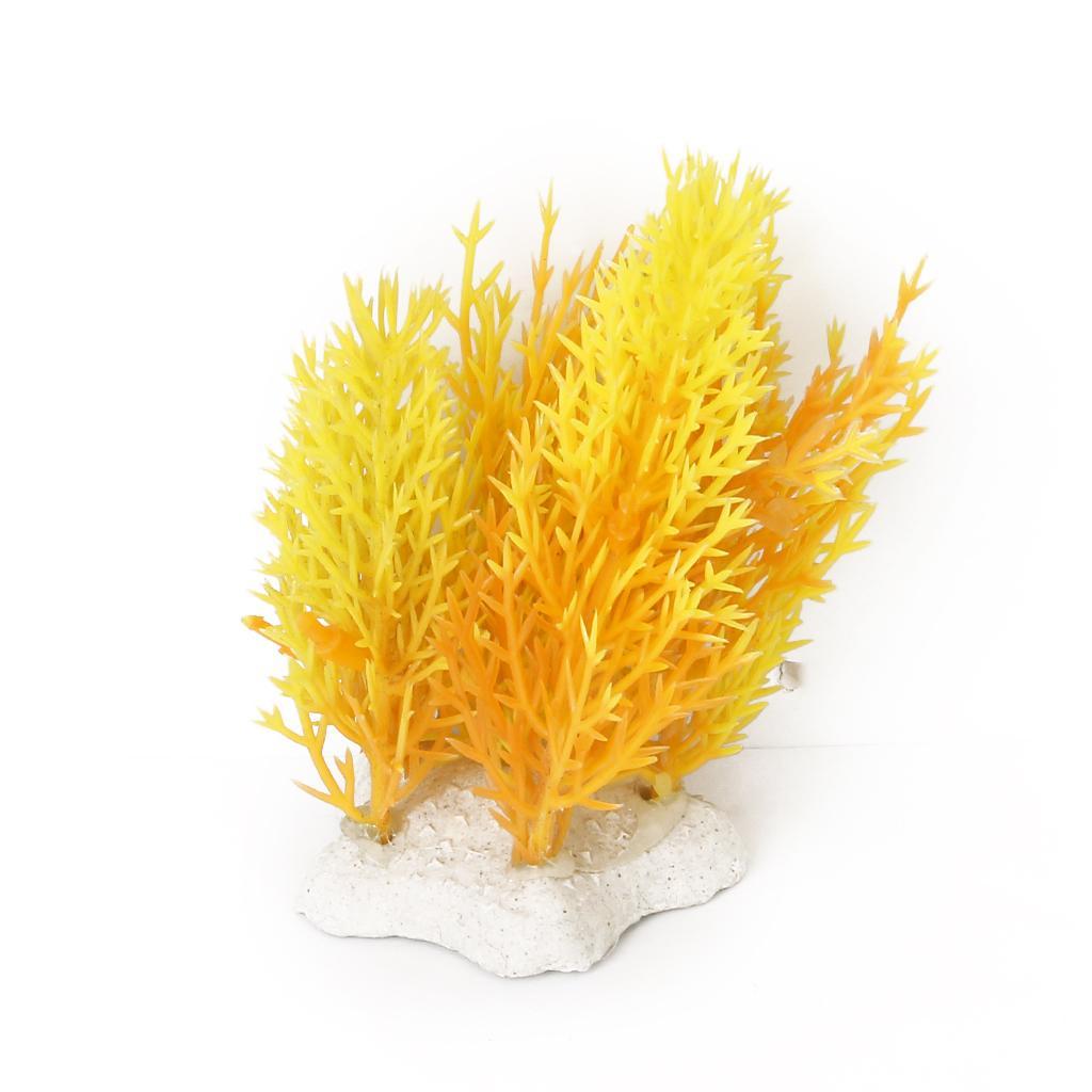 "3.15"" Plastic Water Grass Plants Aquarium Ornament for Fish Tank - Yellow and Orange"